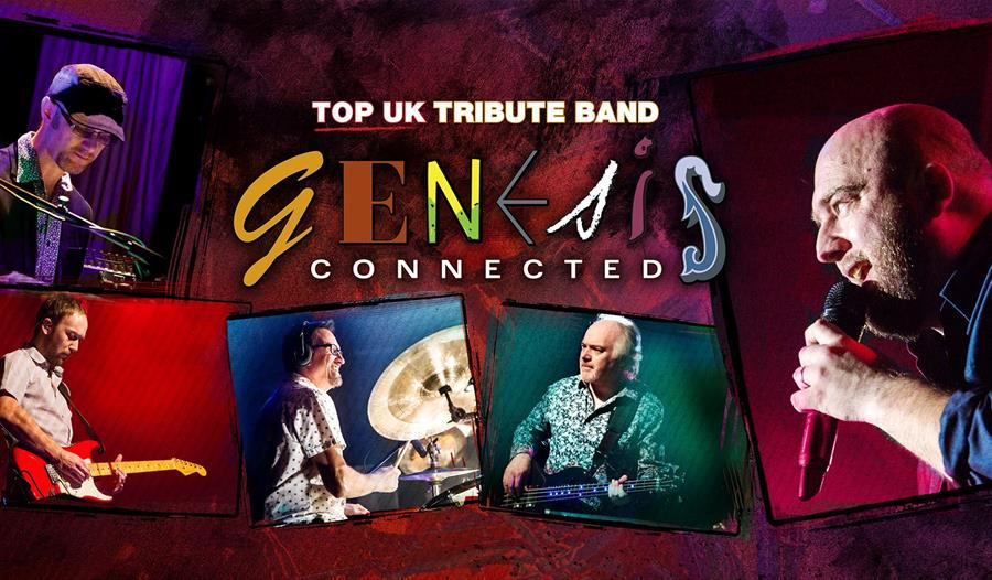 a red poster for tribute band genesis connected. white male musicians are each given there own square photograph on the red background. band name in c