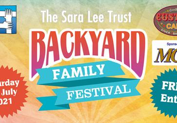 A poster for the Backyard Family Festival for the Sara Lee Trust, in Bexhill East Sussex