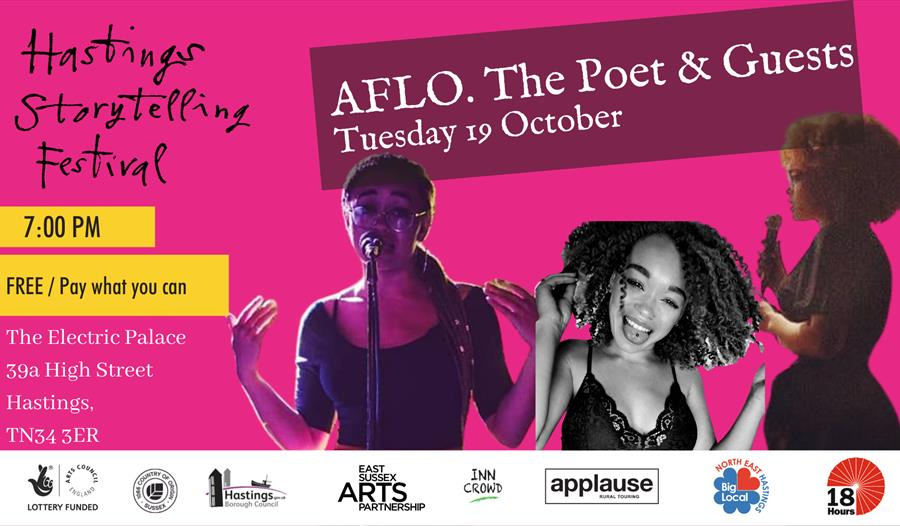a pink poster with three cut out photographs of young black women holding microphones. Text says Hastings storytelling Festival: AGLO. The Poet & Gues