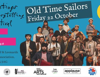 blue poster with cut out group of musicians. Says Hastings Storytelling Festival, Old Time Sailors.