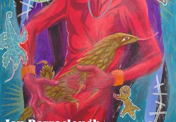 a painting by an Barraclough, a bird being held by a red man.