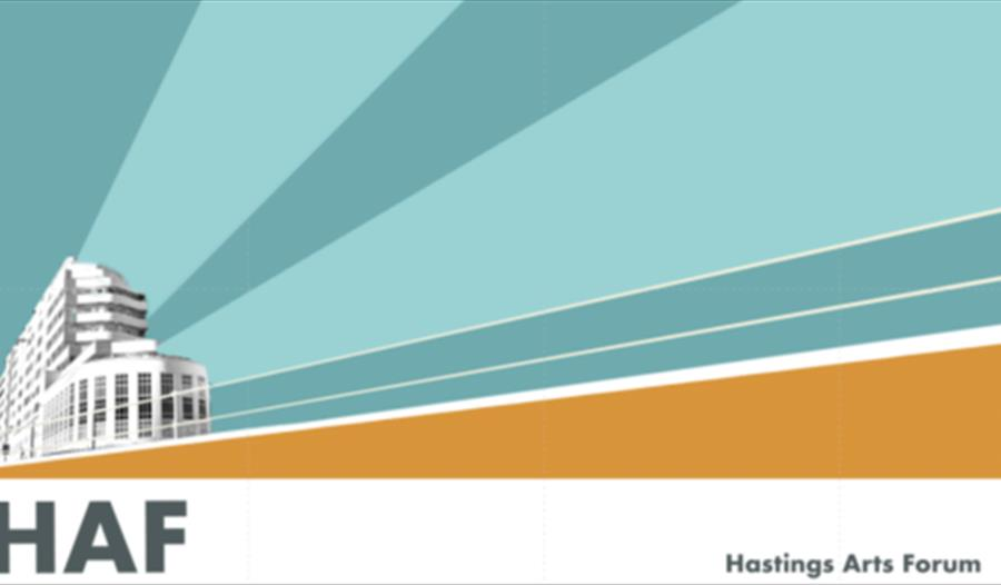a graphic poster for Hastings Arts Forum. Bottom left hand corner shows illustration of large white building, rest of page has blue stripes for sky.