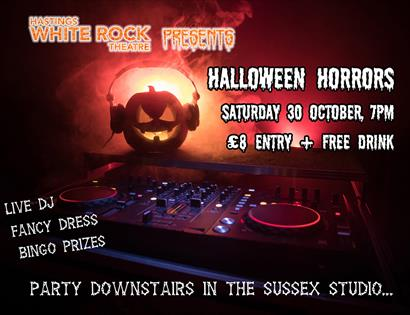 A poster for a halloween party. Background photograph shows pumpkin wearing headphones.