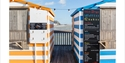 Striped huts on Hastings Pier