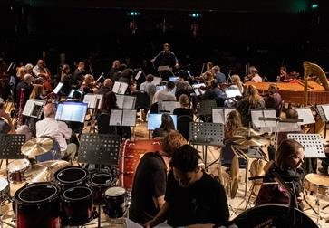 Live orchestra playing for  International Composers Festival at the De La Warr Pavilion East Sussex