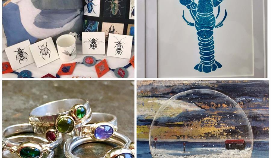 a square with 2x2 grid images of art works displays including jewellery, a print of a blue lobster and a seagull cushion.