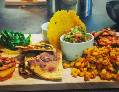Mexican Street food on a wooden food board