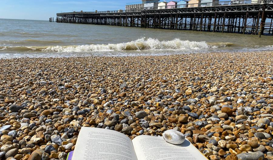 a photograph of hastings beach with book on pebbles in the foreground. Hastings Pier in background to the right.