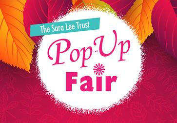 a pink poster with autumn leaves. Text in centre says The Sara Lee Trust Pop-up Fair