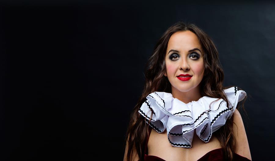 A portrait of a woman wearing a clown's ruff.