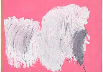 An abstract painting with a pink background and white and grew brushstrokes in the centre.