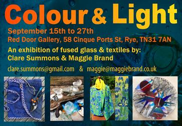 A poster for an exhibition at the Red Door Gallery, Rye, Rother. The name of the exhibition is at the top, called Colour and Light. There are four pic