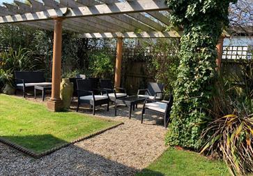 Garden at The Wild Mushroom in Westfield, near Hastings, East Sussex.