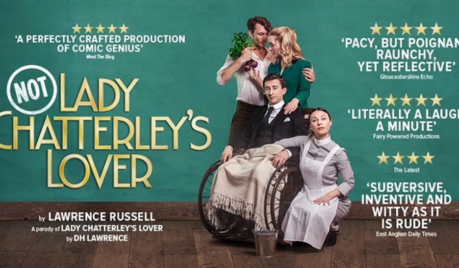 a poster with green background for Not Lady Chatterly's lover at the White Rock Theatre Hastings.