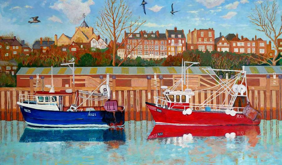 artwork of two small fishing boats, one red and one blue, against a harbour wall.