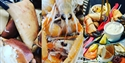 A collage of three photographs of seafood from pebbles restaurant bexhill