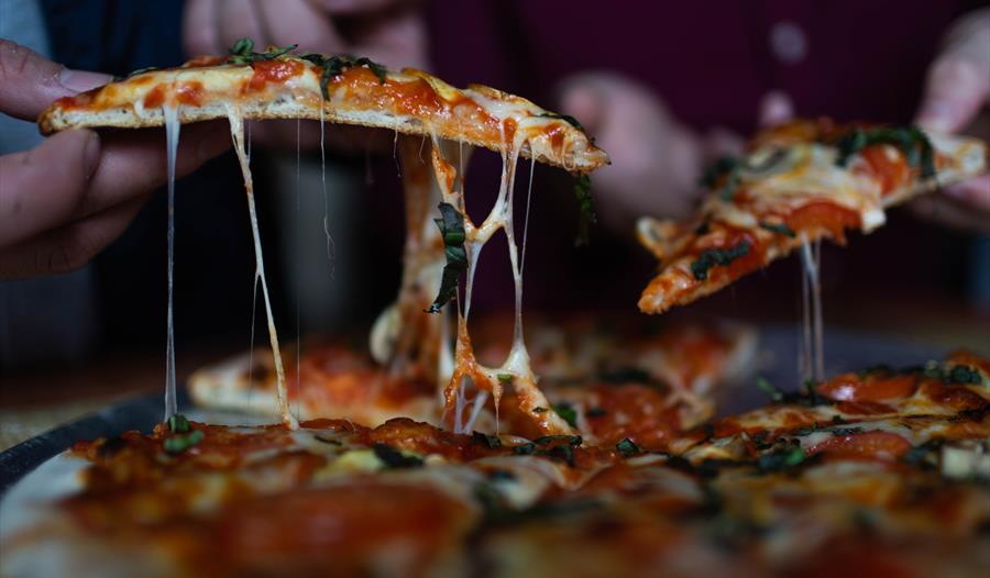 Close up shot of pizza slices