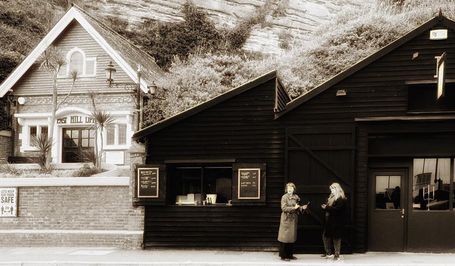 Exterior sepia tone picture of Rock-a-Nore Kitchen in Hastings Old Town, East Sussex