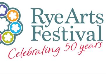 White banner poster for Rye Arts Festival. colourful flower motif and text 'celebrating 50 years'.