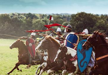 Coming from the right of the screen, knights in armour charging on horseback, green field in background and to left.