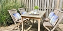 Terrace at The Salty Dog, self catering holiday cottage in Camber, East Sussex.