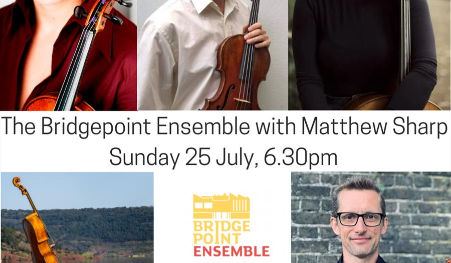 A poster with five portraits of musicians holding their string instruments. Text in centre reads 'The Bridgeport Ensemble with Matthew Sharp, Sunday 2