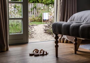 The Gallivant room looking over garden, Camber Sands East Sussex