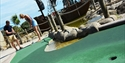 Two people playing Pirate Golf in Hastings East Sussex