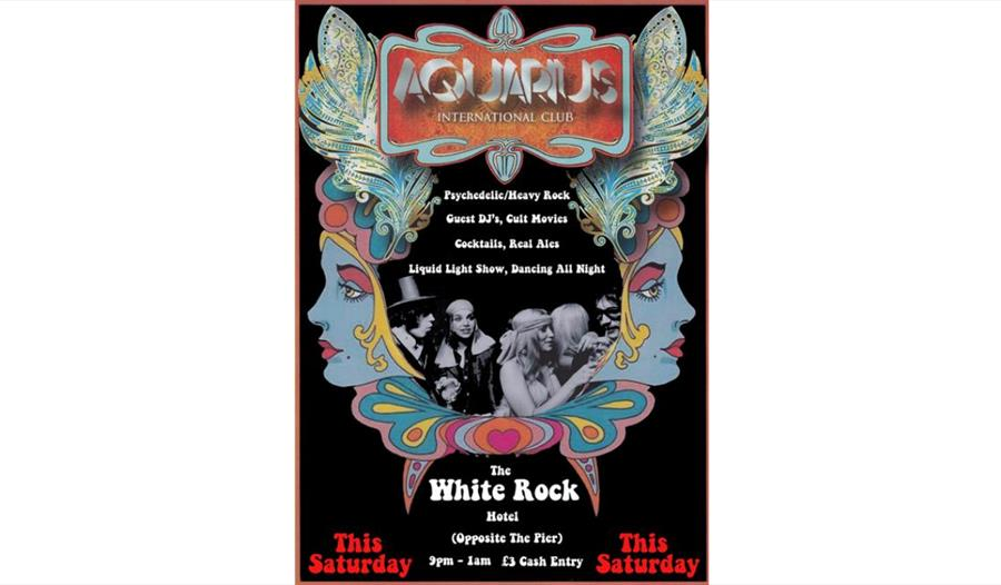 60's psychadelic style poster with black background and illustration with ladie's blue face. Top reads Aquarius. In centre is a black and white photog