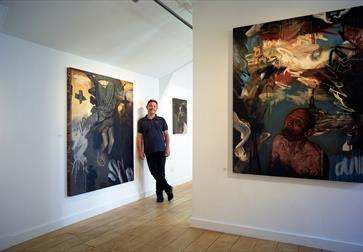 Curator Kenton Lowe at the BlackShed Gallery in Robertsbridge, East Sussex