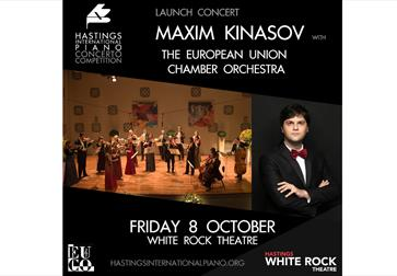 a black square poster for orchestral concert. text reads 'Maxim Kinasov, The European Chamber Orchestra'. Photographs show orchestra standing on a sta