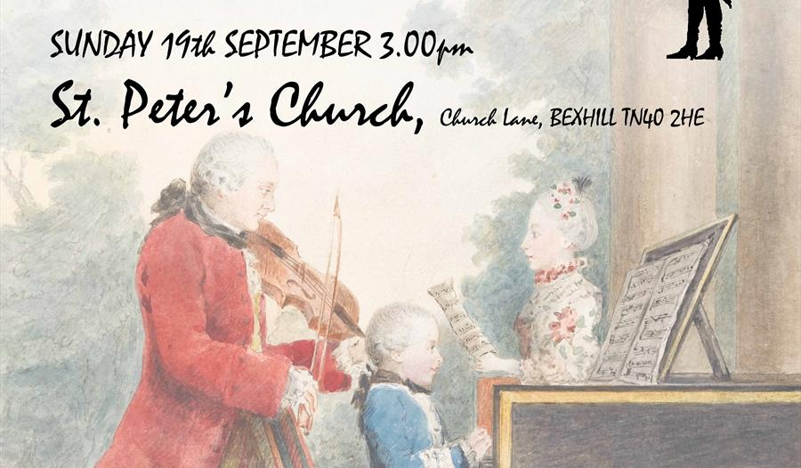 a poster for the sussex concert orchestra's september soiree. Offers same text as event listing. Background shows 18th centure print of family playing
