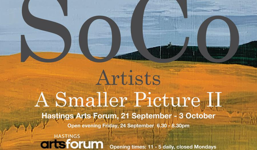 a landscape format poster with text over brushstroke background, bottom half orange, top half blue. Text says SoCo Artists,  a smaller picture 2, at H
