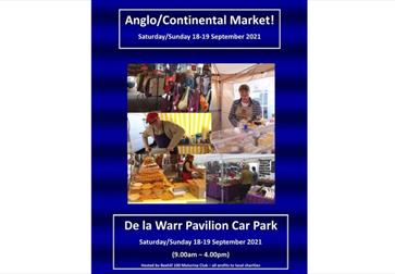 a poster with a blue background and photographs in the middle showing people at market stalls. White above and below photos reads Anglo/Continental ma