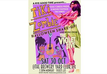 A yellow and pink poster for a tiki halloween night with an illustration of a hula girl.