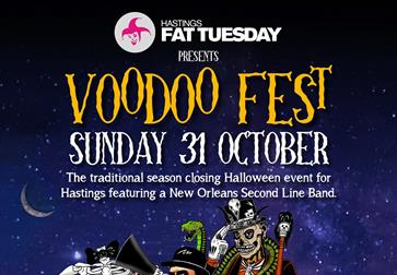 a post with a night sky background for Voodoo Fest. Bottom shows a cartoon skeleton in a hat.