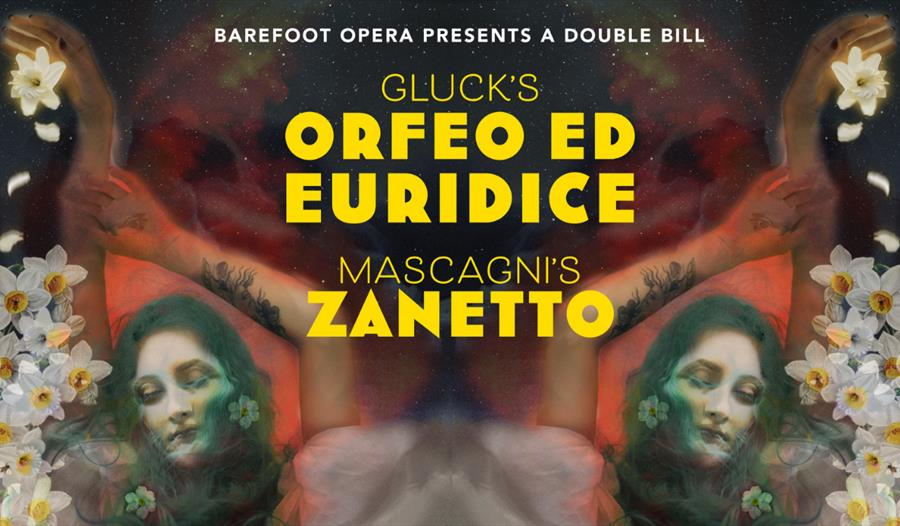 A poster for a double-bill opera performance in St Leonards by Barefoot Opera. Yellow text on a painted backgroun with white flowers and a woman's fac
