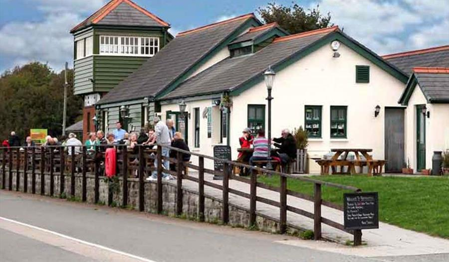 Fremington Quay Cafe exterior and outside seating.