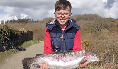 A good-sized rainbow trout from the Clypse reservoir