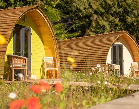 2 Glamping pods at Glen Helen, Isle of Man with wildflower meadow