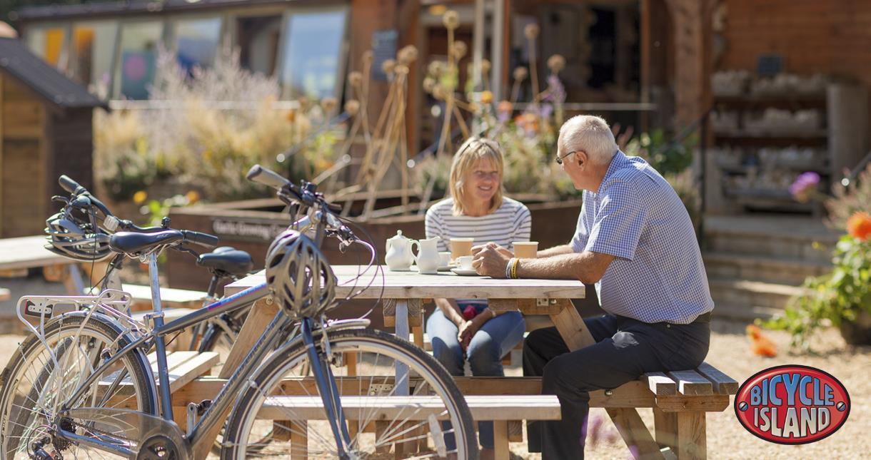 Cyclists at The Garlic Farm
