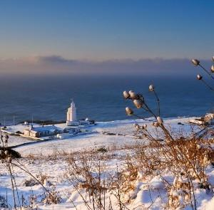 St Catherine's Lighthouse in the snow