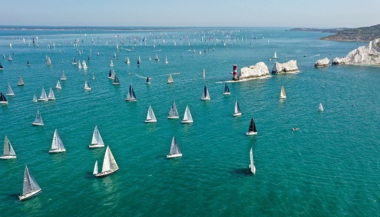 Yachts passing the Needles in the Round the Island Race, Isle of Wight, What's On - copyright: Paul Wyeth