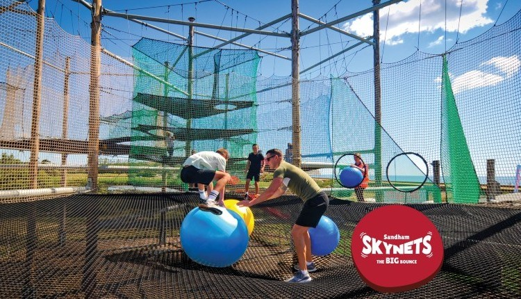 Boy and adult playing on Skynets at Sandham Gardens, Sandown, Things to Do
