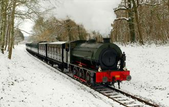 Snow in the countryside with steam train on the track, Isle of Wight Steam Railway, Things to Do, What's On
