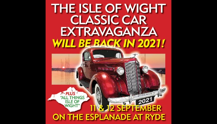 Isle of Wight, Things to Do, Classic Car Show, Poster showing vintage car with dates for event