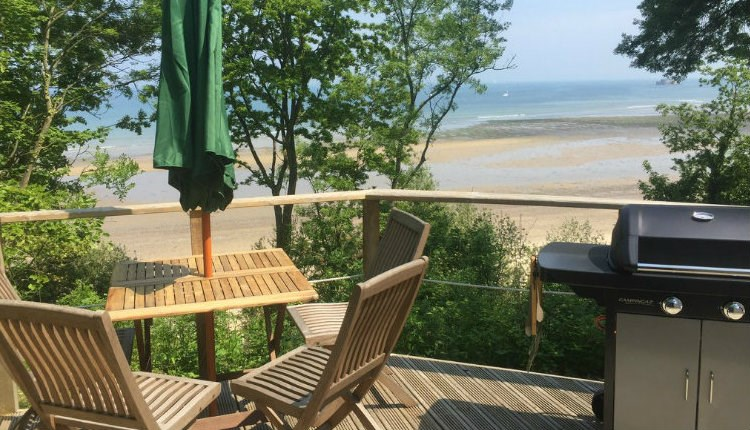 Isle of Wight, Glamping, Accommodation, Seaview Yurts, Deck and View