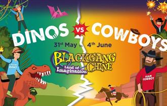 Isle of Wight, Things to Do, Blackgang Chine, Dinos vs Cowboys, May Half Term event, Promotional Image