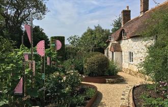 Sculpture in garden opposite cottage at Ever Garden, Brightstone, Isle of Wight