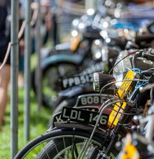 Isle of Wight, Events, Isle of Wight Steam Railway, Festival of Transport, image of line up of old motobikes